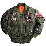 Alpha Industries Boys MA-1 Jacket With Patches - Sage Green - YJM21001C1